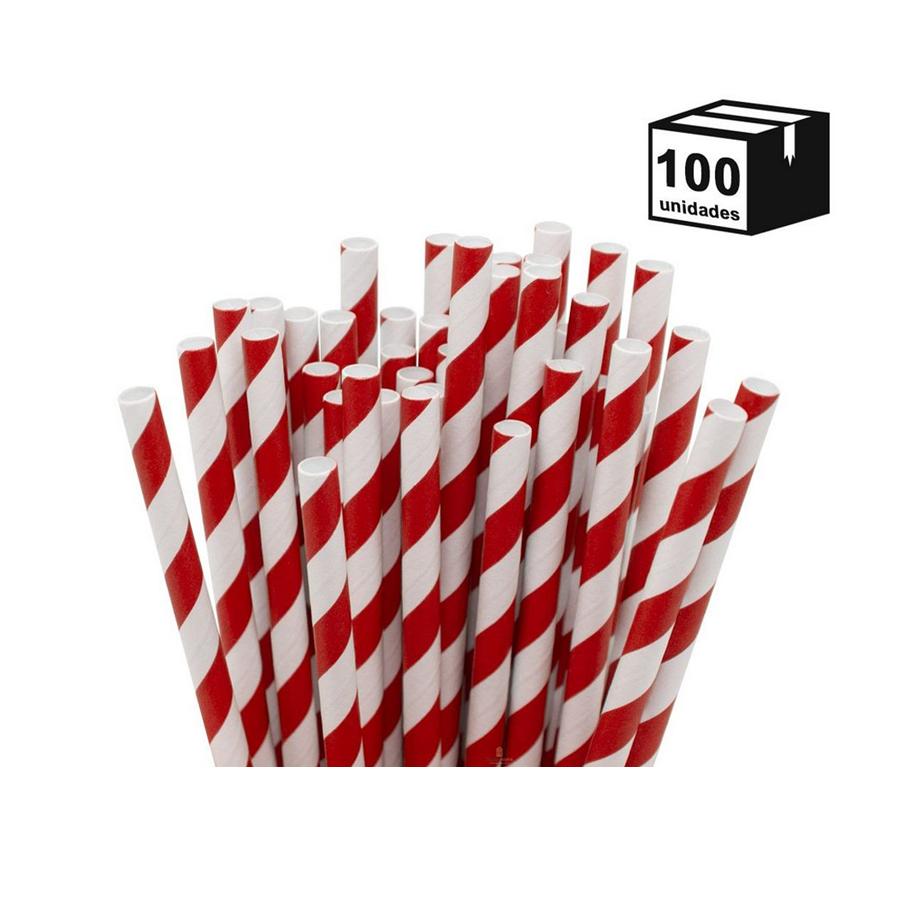 100 un Canudos De Papel Biodegradável 6mm Espiral